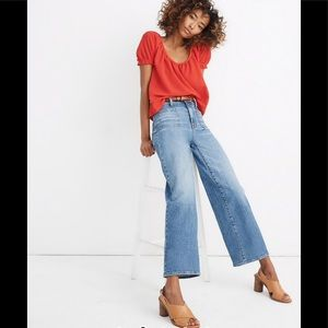 Madewell wide leg crop jeans in chesney wash